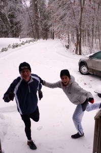 Striking our best running pose in the midst of a Canadian winter